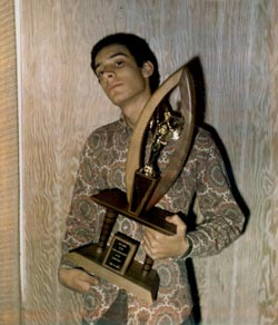 Steve at age 15 holding Spellbinders' trophy - Click for larger image!